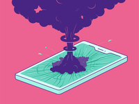 You have one nuke message alert display message notification smashed smoke rings bomb smoke cellphone mobile iphone screen broken glass cracked explosion flat  design illustration vector