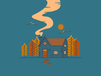 Cosy Cabin isolation stay home trees hut hygge warm windows pathway building smoke chimney cozy cosy forest woods cabin flat  design outline illustration vector