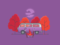 Cute Camper hygge illustration vector flat design isolation stay home evening outdoors nature moonlight roasting marshmallows trees forest campfire camping camper van vw volkswagen