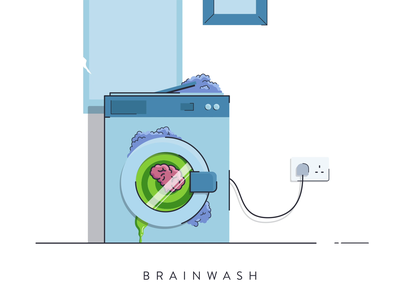 Brainwash flat  design minimal vector cycle spin washing machine brain hypnosis hypnotic brainwash animation motion design motion graphics 2d animation