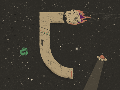 C for Comet - 36 Days of Type galaxy planets texture distressed stars shooting star asteroid planet sci-fi space lettering flat  design typography 36 days of type