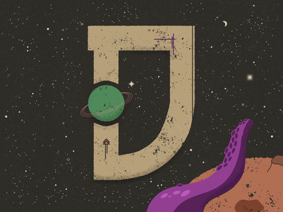 D for Deep space - 36 Days of Type textured truegrittexturesupply constellations astronomy solar system space stars planets saturn galaxy lettering vector typography 36 days of type