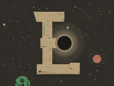 E for Eclipse - 36 Days of Type truegrittexturesupply texture stars shooting star planets eclipse space galaxy 36daysoftype lettering typography 36 days of type flat  design vector