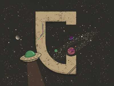 G for Galaxy - 36 Days of Type challenge cosmic solar system saturn jupiter planets aliens ufo stars textures truegrittexturesupply galaxy lettering flat  design 36 days of type
