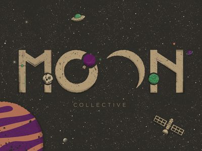 Moon Collective stars planets satellite negative space moon galaxy space outline 36 days of type illustration vector dribbbleweeklywarmup