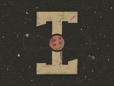 I for Infinite Loop - 36 Days of Type constellations texture solar system space stars galaxy moon orbit planet infinite vector art typography 36 days of type illustration vector