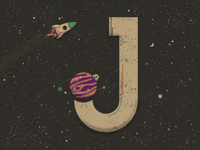 J for Jupiter - 36 Days of Type alien ufo stars solar system astronaut rocket jupiter planets galaxy space lettering 36 days of type illustration vector