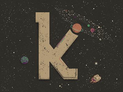 K for Kuiper belt - 36 Days of Type meteor asteroid distressedunrest truegrittexturesupply milky way distressed texture universe galaxy planets stars solar system flat  design 36 days of type