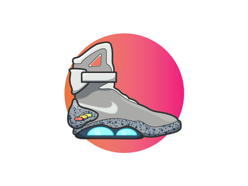 """Power laces, alright!"" backtothefuture bttf airmax nike vector art vector outline illustration icon flat  design drawing design"