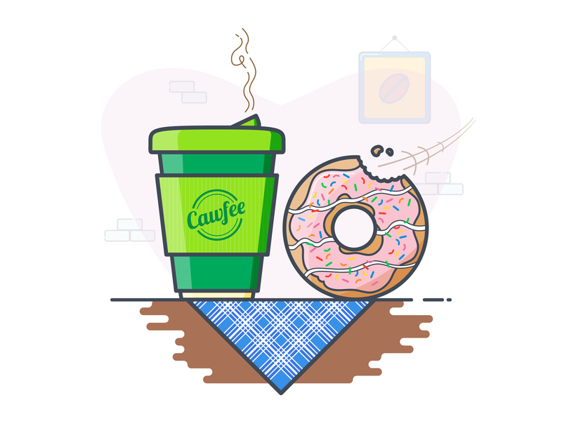 Match Made In Heaven coffee and donut perfect match cafe doughnut drawing vector art vector outline illustration icon flat  design design