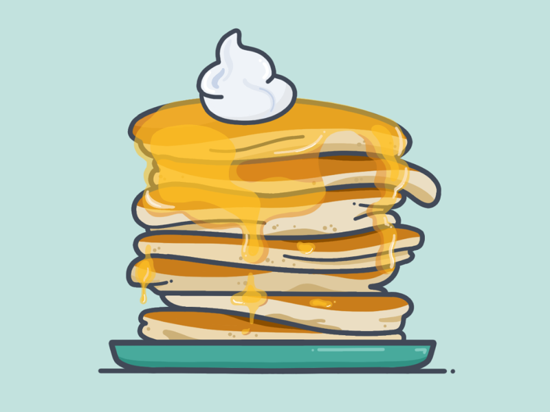 Who gives a crepe brunch breakfast stack flapjacks whipped cream syrup pancakes minimal illustration icon procreate vector