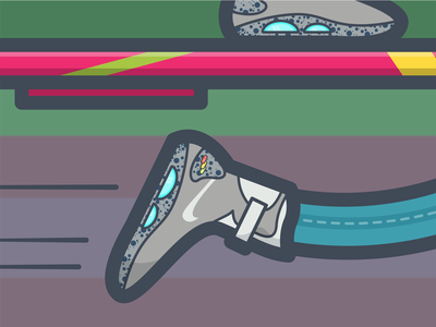 Roads? Where we're going, we don't need roads... movement speed illustration 80s movie bttf nike air mag almanac pepsi hoverboard marty mcfly back to the future vector flat