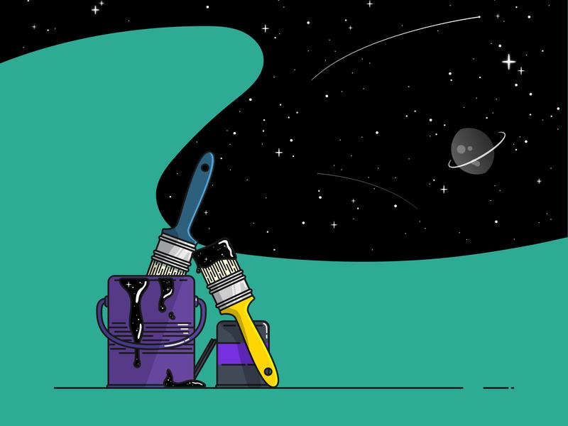 Paint it black purple teal shooting star planet sky stars space paintbrush bucket paint flat  design icon outline illustration vector