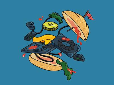 Megabite bun lettuce pickle flag ketchup components parts computer food burger icon illustration flat