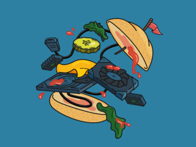 Megabite bun lettuce pickle flag ketchup components parts computer food burger icon illustration flat