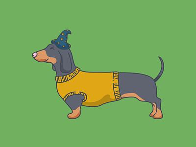 Halloweenie sausage dog dog jumper witch hat halloween sausage dachshund ui sticker flat  design minimal icon outline vector illustration