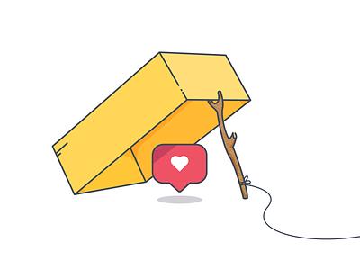Clickbait illustration minimal vector shadow sticker flat design booby trap knot string stick instagram like box trap clickbait