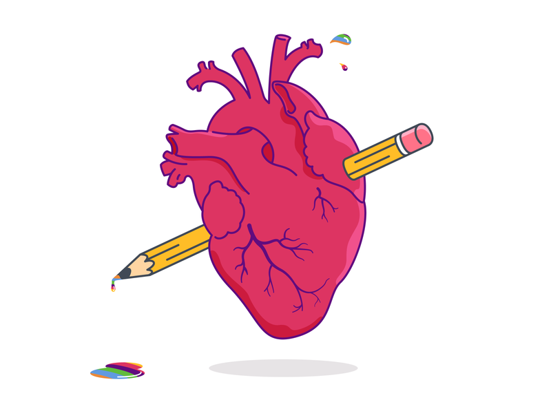 Commitment to the cause drip drawing rainbow pencil heart imagination design creativity blood sticker minimal icon outline illustration vector