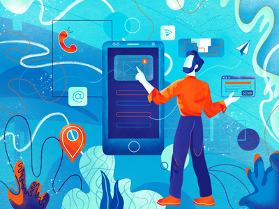 Contact Illustration geometry character design character telephone procreate webdesign illustration technology shapes patterns orange corals communication underwater blue message location emails phone contact
