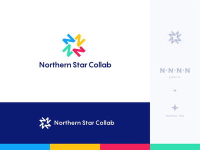Northern Star Collab letter mark logo logo mark logo design branding concept concept brand identity branding star colorful n letter logo star logo negative space logo concept letter logo lettering smart logo collab collaboration logo collaboration