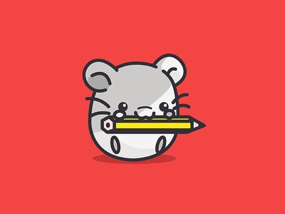 Hamster funny character animated pencil animal red cute hamster