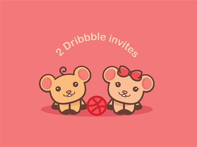 Dribbble Invite community dribbble invites two happy animal cute invites invite twins