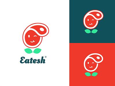 Eatesh V3 character restaurant mobile logo mobile app eat fresh steak meat logo