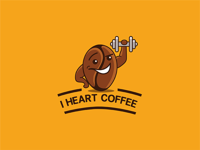 Iheartcoffee V2.1 strong fitness gym coffee bean t-shirt fun love workout branding logo character coffee
