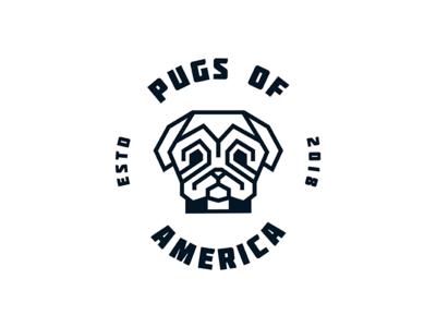 Pug Dog pug logo dog logo cute love symmetric lines geometry logo t shirt dog pug