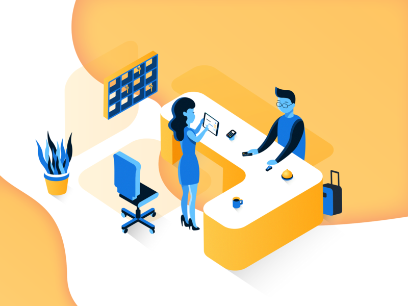 Reception Isometric Illustration coffee flower glasses website people 3d hotel hotels colorful guests management technology tablet startup lugage boy reception illustration isometric girl