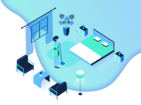Isometric Housekeeping Illustration