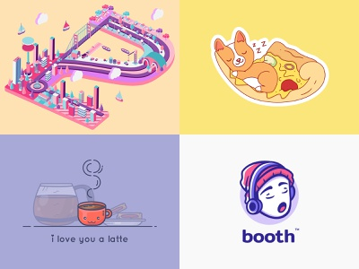 Best of 2018 colorful isometric dog lovely 3d character happy illustration funny fun love animal cute