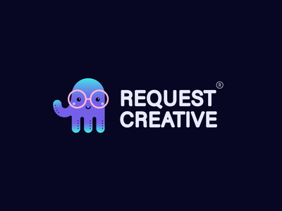 RequestCreative sea creature sea nerdy nerd startup landing page lovely font lovely happy smile website glasses jelly fish octopus animal cute animal charcater funny cute logo design startup