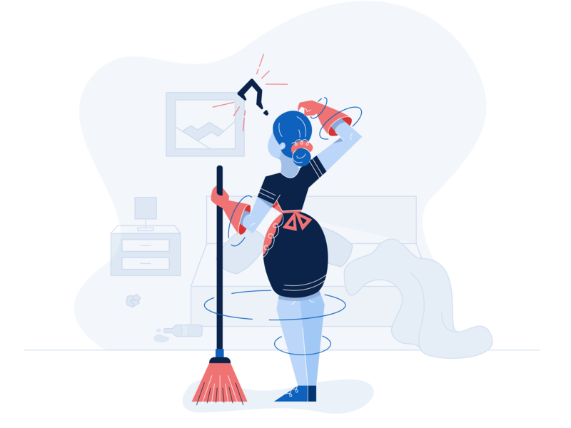 Dashboard Housekeeping Task Illustration character design picture frame bottle mobile app app task gloves dashboard website hotel maid messy lamp nightstand broom lady cleaning housekeeping room illustration