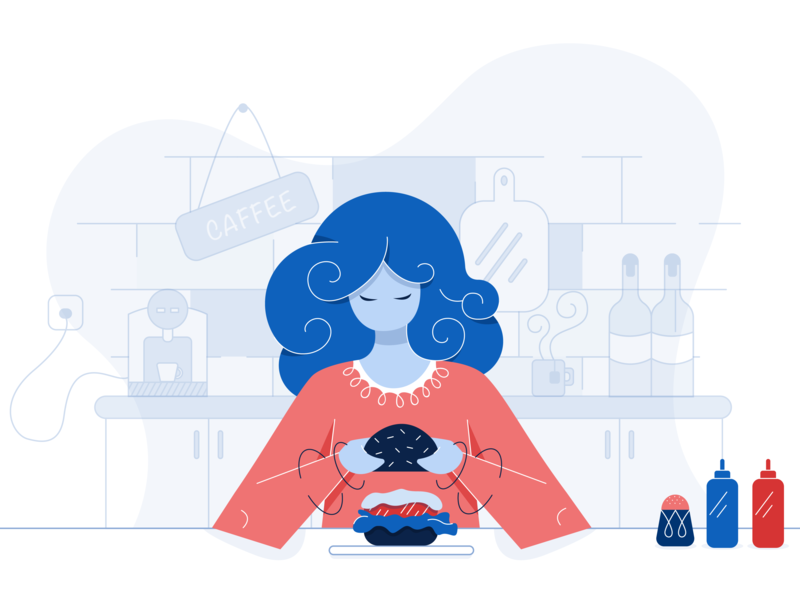 Create Items Illustration food hotel website items dashboard wine coffee curly hair hamburger mustard kethup kitchen girl character happy illustration fun funny love cute