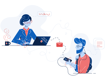 Guest Communication Illustration character fun illustration managment hotel dashboard email mug laptop backpack messages telephone glasses woman hipster boy communication guests