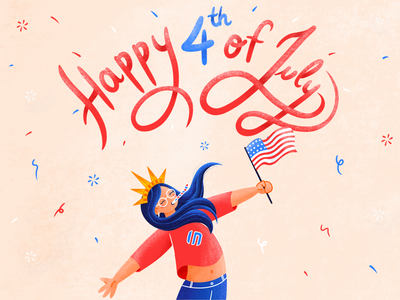 Happy 4th Of July typography fun social illustration american flag confetti america event social media website illustration blue and white red blue statue of liberty fireworks fourth of july independence day usa flag girl