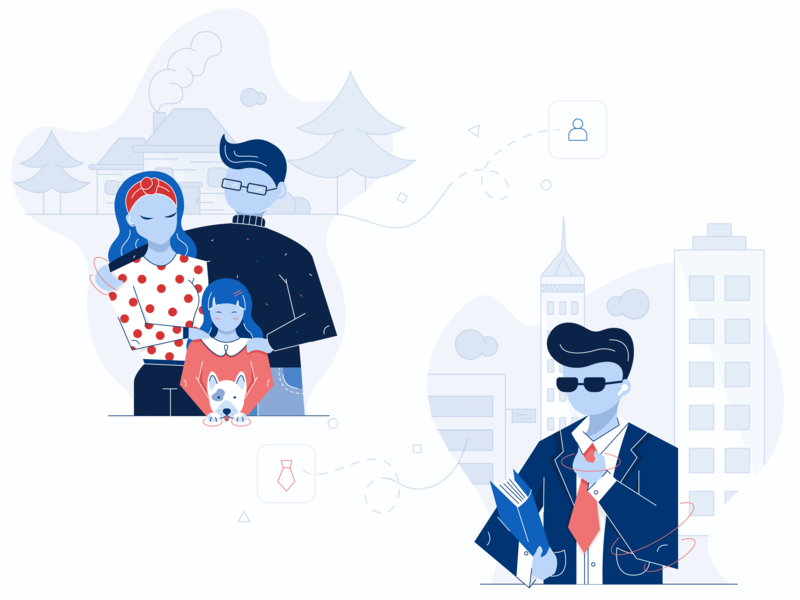 Guest Segentation Illustration applicaiton platform happy website character love 2d character flat desig girl glasses hospitality city dog illustration hotel website illustration dog business family segmentation guests