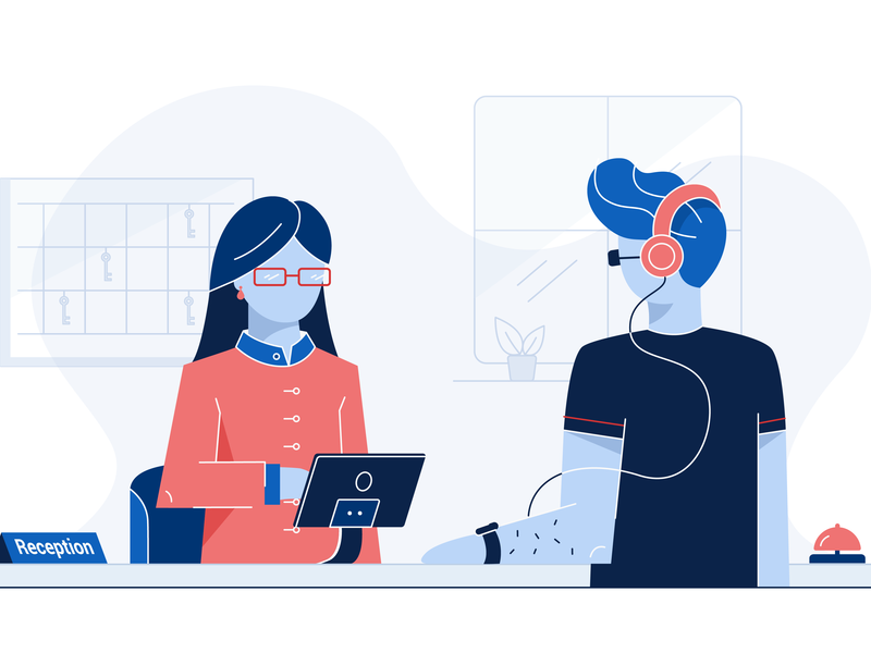Reception Dashboard Illustration character design window room ringbell apple watch application tablet headphones platform hotel reception illustration website design website dashboad