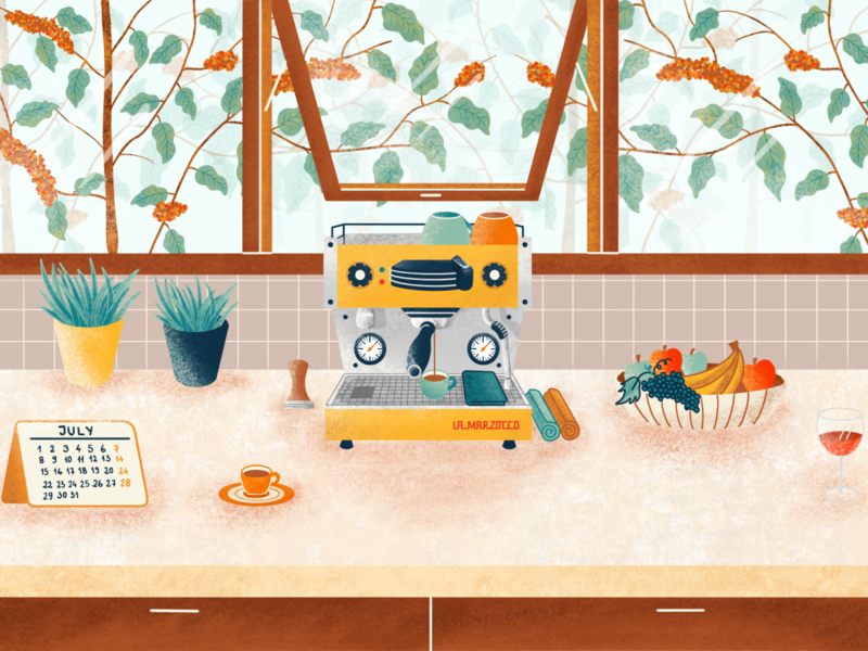 La Marzocco Espresso Machine italian handcrafted procreate backgroung trees window wine fruits coffee plant blog post illustration textured illustration web illustration coffee espresso machine