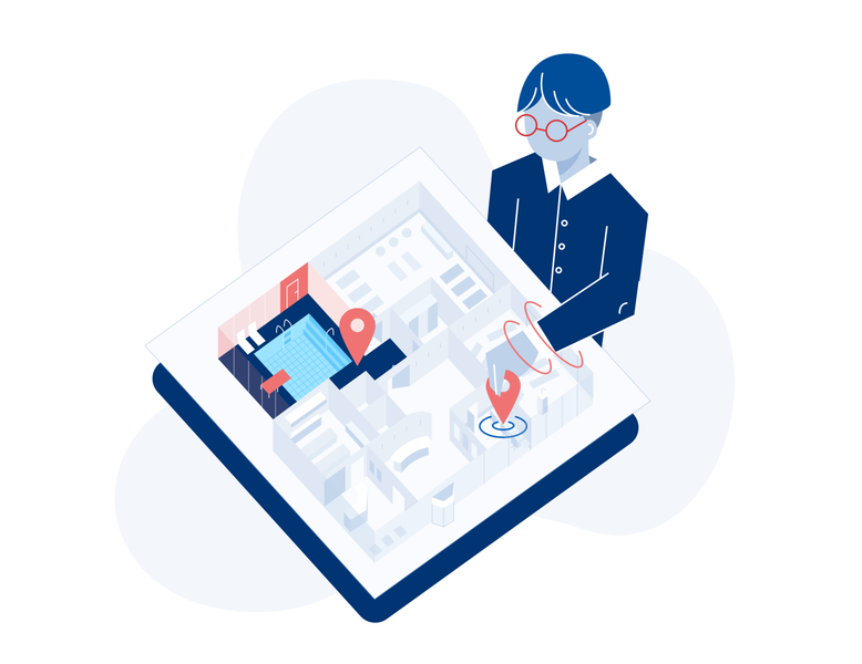 Create Location locator character gym pool hall units scheduling dashboard planimetry isometric illustraion website illustration web design glasses architecture location