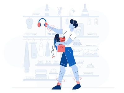 Items Categories Illustration vector design hotel character application illustration website website illustration service food headphones clothes basket boy categories items