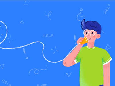 String Telephone Boy double shot colorful happy question mark creativity creative art texture design flat design vector art cups blue glasses illustration phone string phone character help