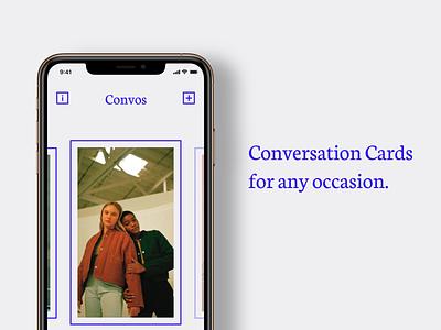 Convos – Conversation Cards product blue simple ui conversation cards