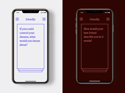 Convos – Dark Mode ux product red blue simple ui cards conversations