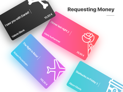 Requesting Money theme gradient request card money