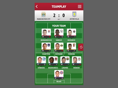 Foosio interactive ui mobile game manager football