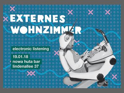 EXTERNES WOHNZIMMER - Flyer retrofuturism pattern electronic music flyer