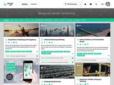 community platform for sensor sharing - startpage community interactiondesign iot social media platform webdesign ui