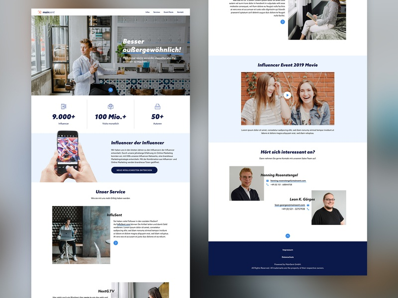 onepager for mainsent, a social media agency uidesign onepager interactive screendesign ui design ui